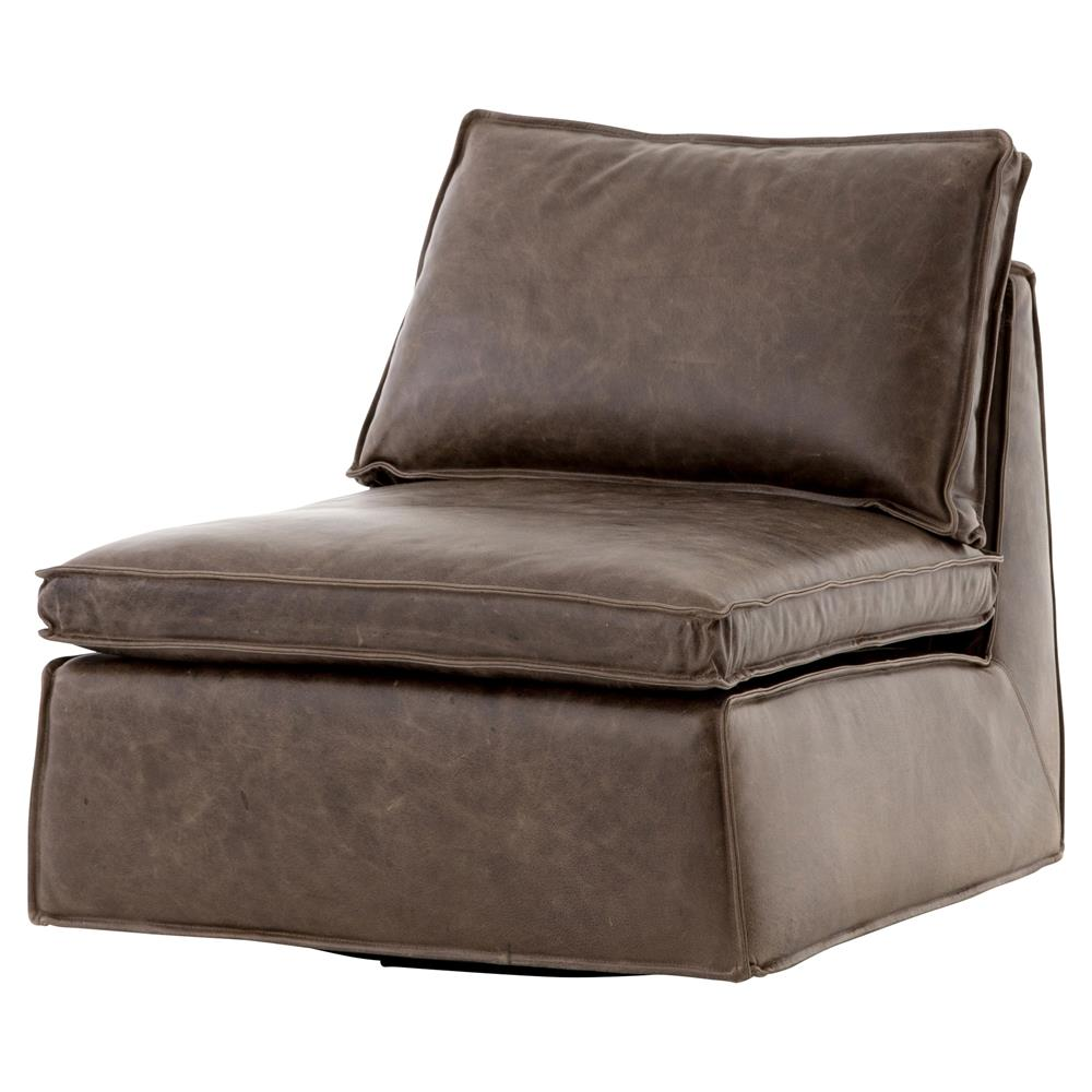 Essa Modern Rustic Espresso Leather Armless Swivel Lounge