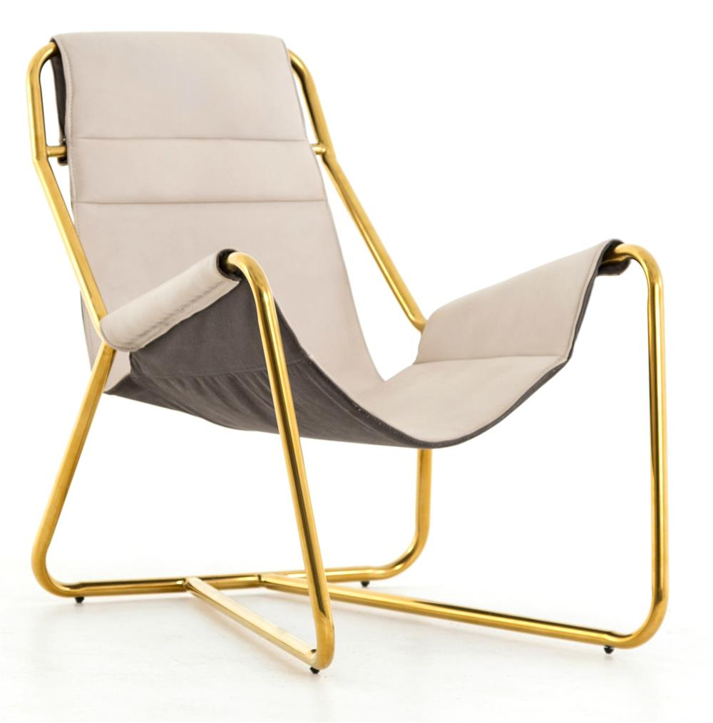 Seton Modern Clic Ivory Leather Gold Sling Lounge Chair Kathy Kuo Home