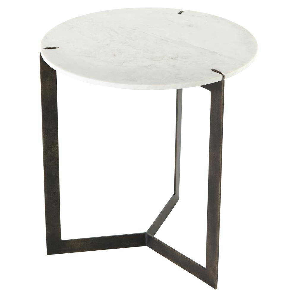 Malin Industrial Loft White Marble Brass Iron Round End Table   Kathy Kuo  Home ...