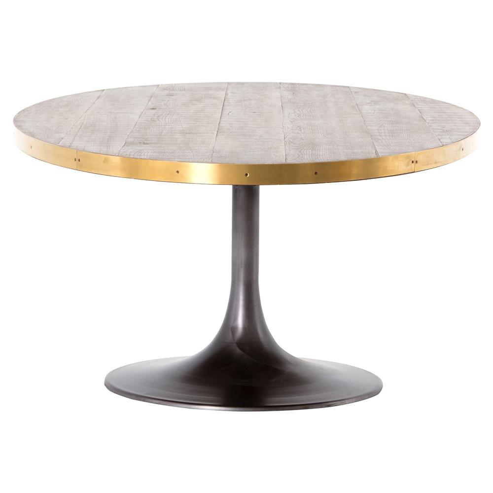 Cressley Industrial Loft Wood Iron Brass Tulip Oval Dining Table | Kathy  Kuo Home ...