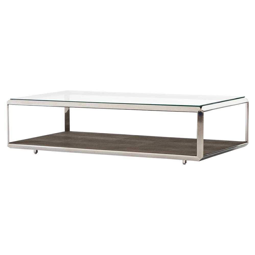 Gabor modern regency brown shagreen silver glass for Low lying coffee table