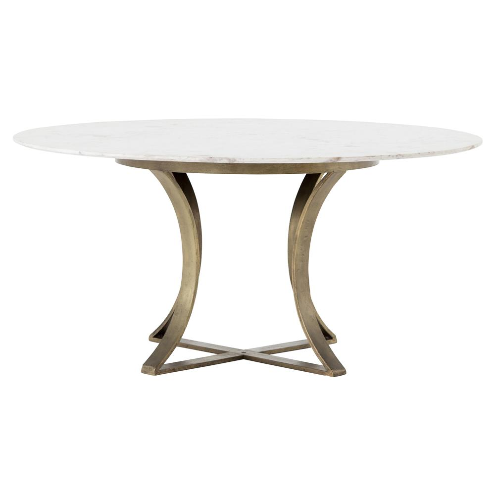 Drake Modern Regency White Marble Antique Brass Round Dining Table | Kathy  Kuo Home ...