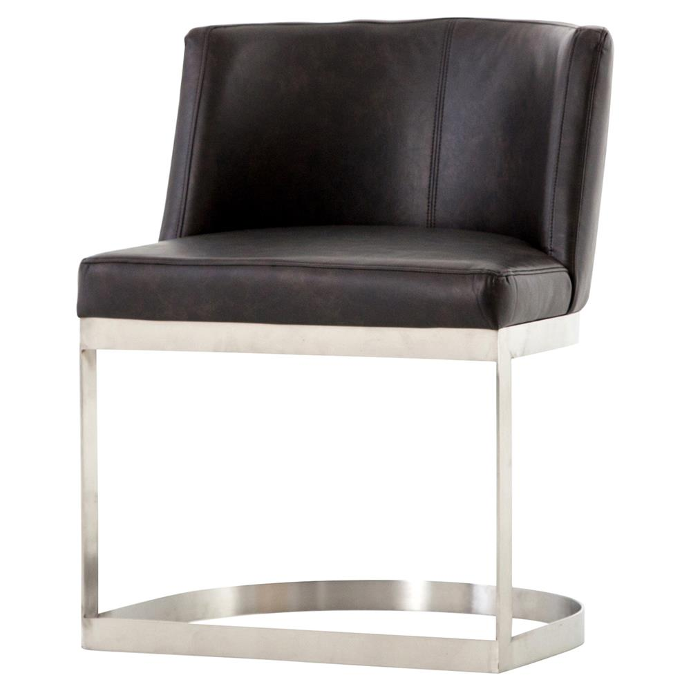 Lotan Modern Black Faux Leather Silver Dining Chair Kathy Kuo Home