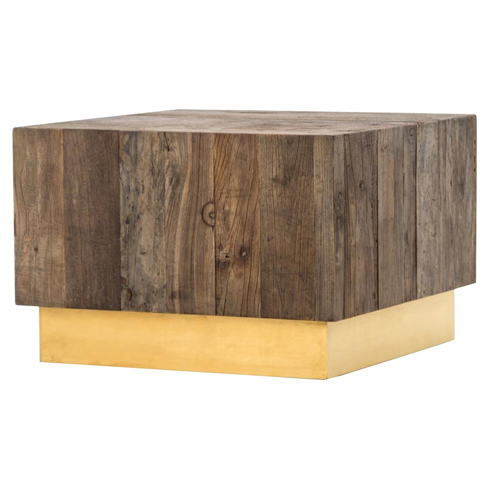 Incroyable Jensen Modern Rustic Reclaimed Wood Gold Square Bunching Accent Table |  Kathy Kuo Home ...