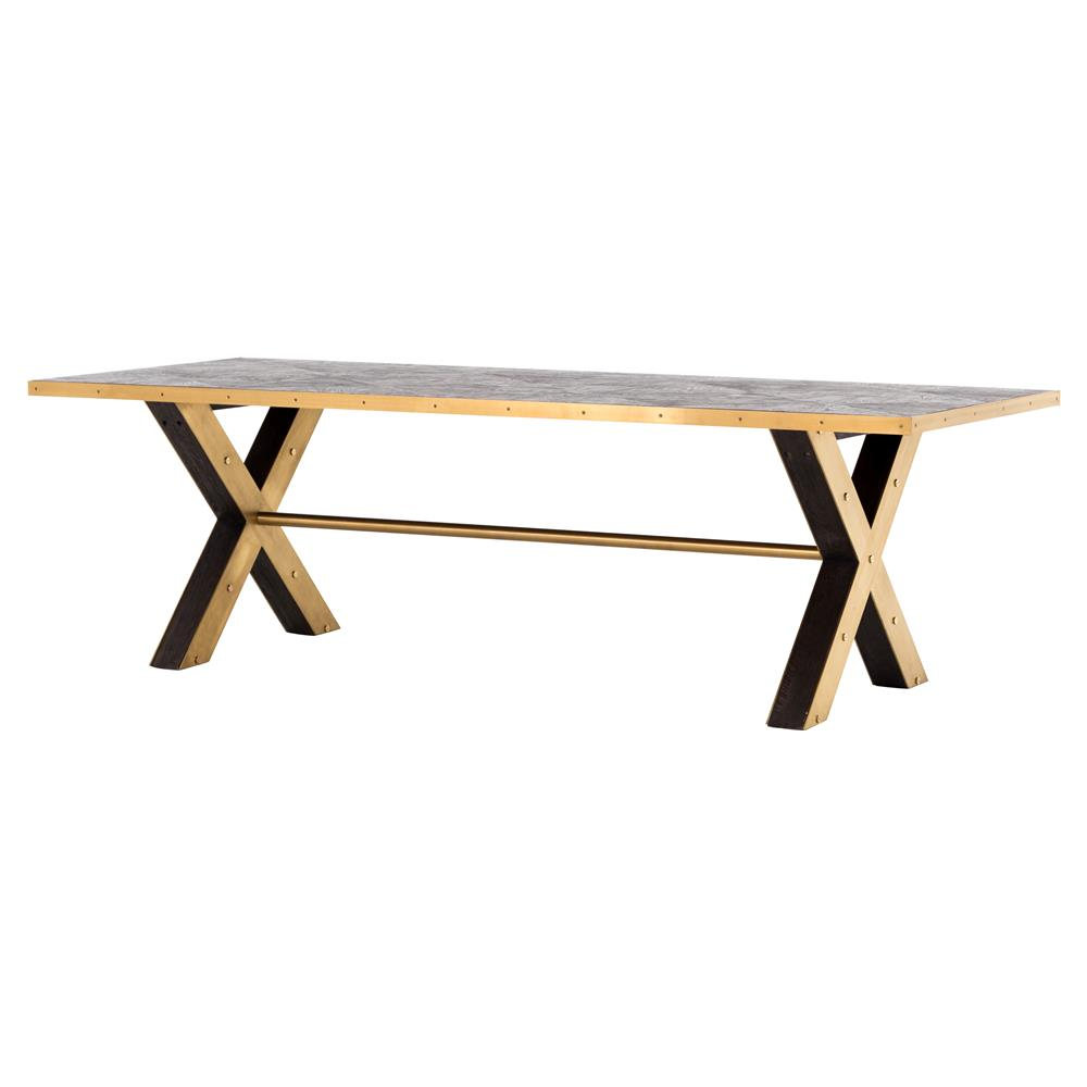 Hera Modern Classic Brown Oak Wood Gold X Frame Rectangular Dining Table