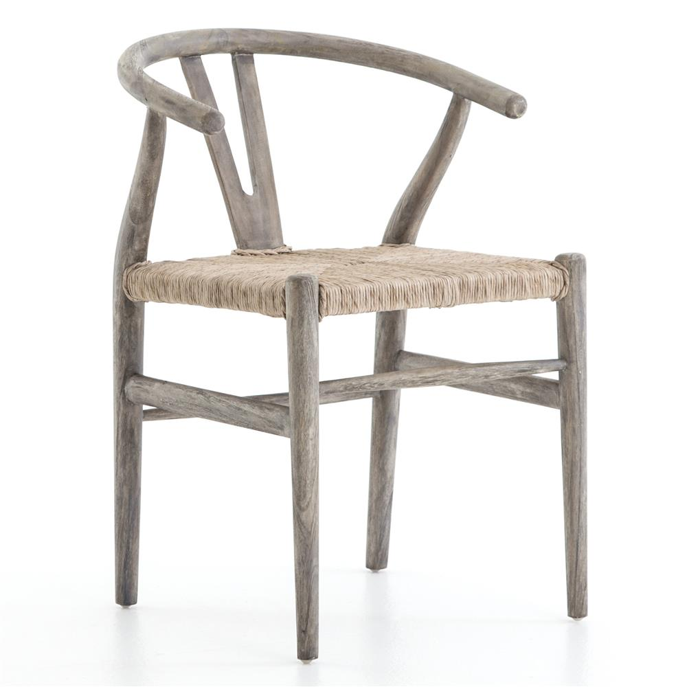Breton Rustic Mid Century Wicker Wishbone Grey Wood Dining Chair | Kathy  Kuo Home ...