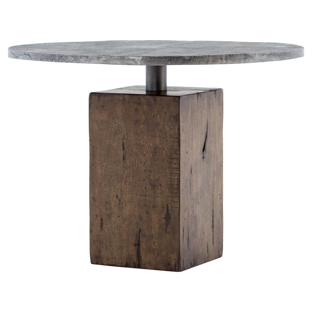 Levitan Industrial Lodge Weathered Wood Metal Round Bistro Table   Kathy  Kuo Home ...
