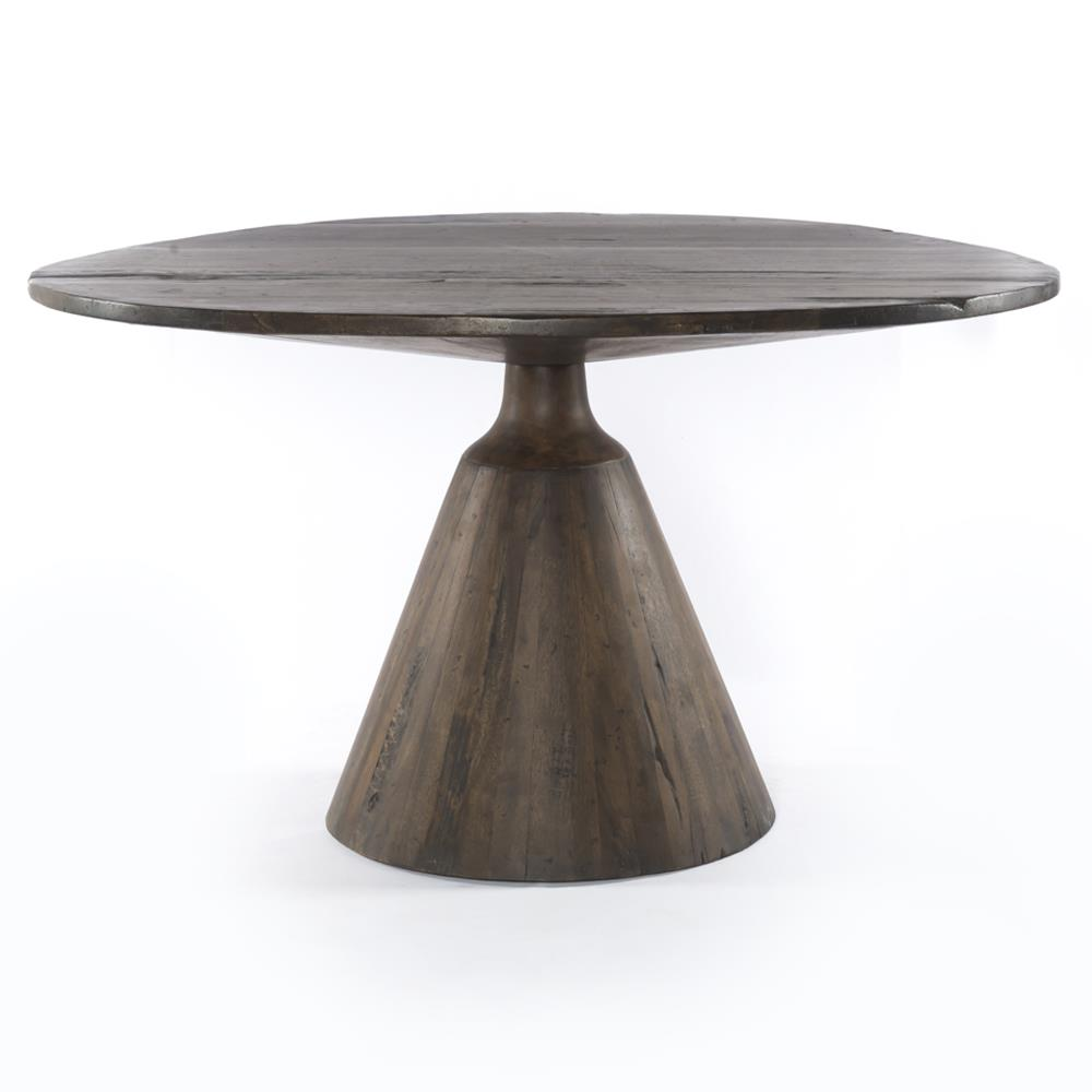 Wood Round Dining Table: Chip Rustic Lodge Reclaimed Wood Round Pedestal Dining Table