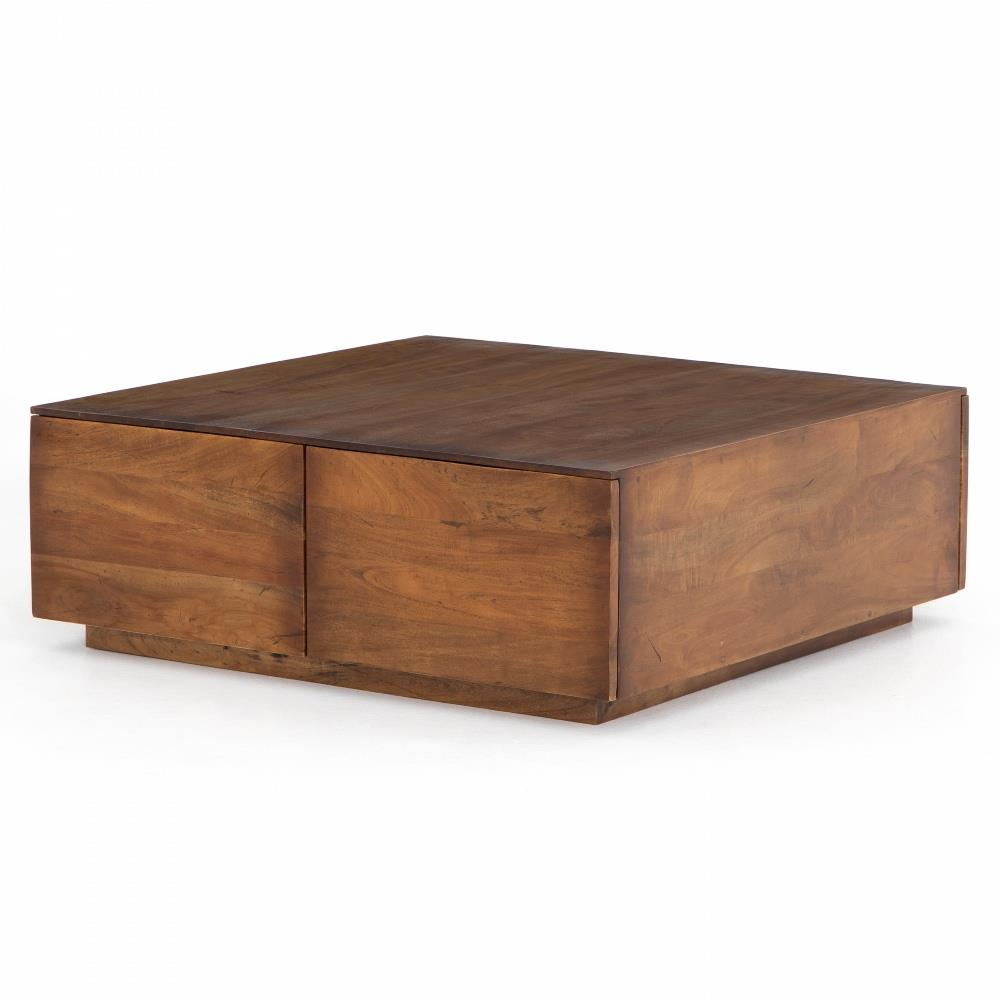 Eagan Rustic Lodge Reclaimed Wood 4 Drawer Square Plinth Coffee Table Kathy Kuo Home