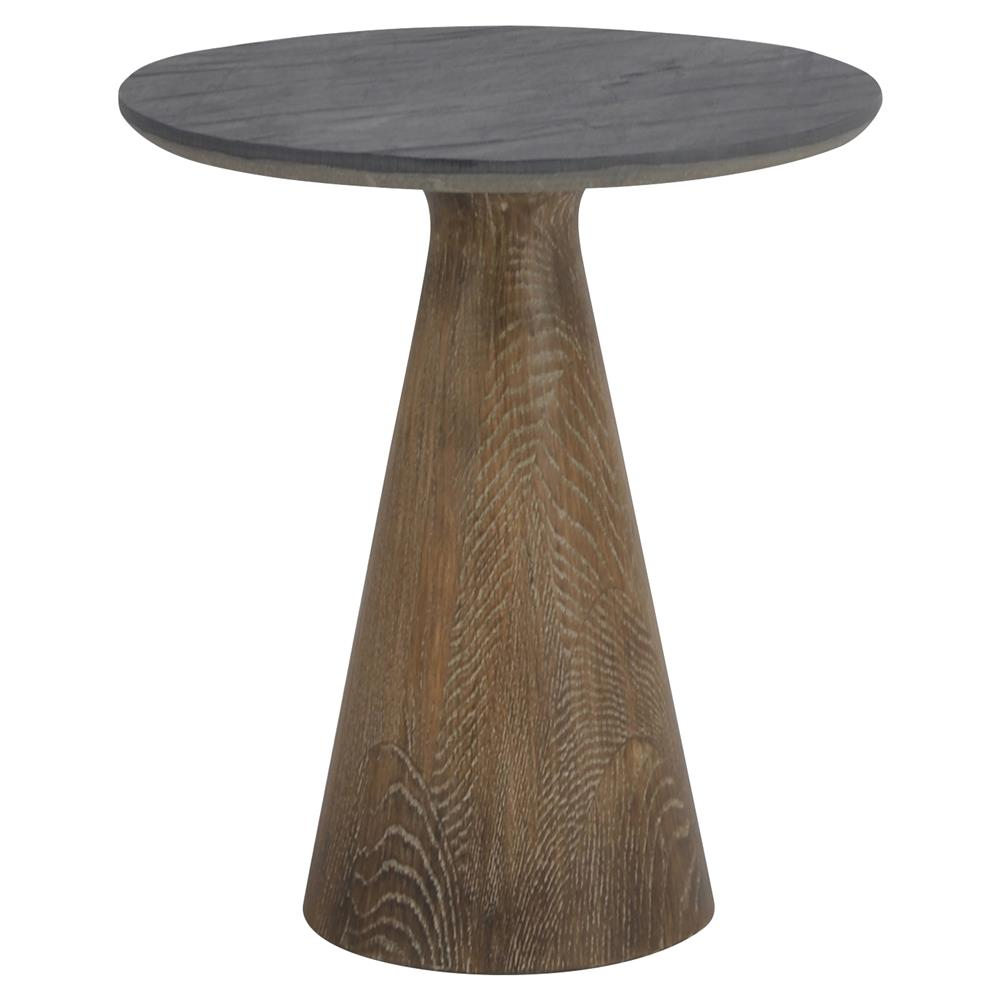 Rankin Rustic Loft Stone Top Reclaimed Wood Round Pedestal End Table Kathy Kuo Home