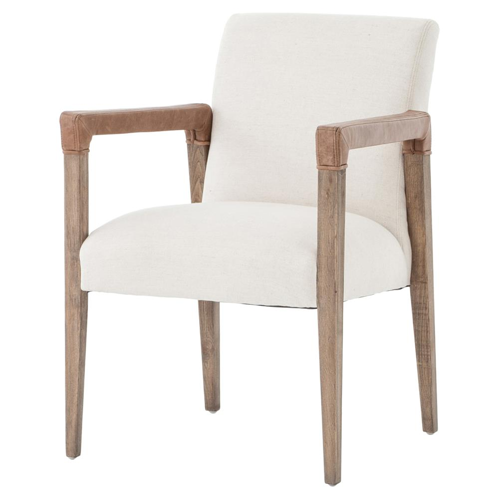 Jolie Modern French Country White Linen Leather Oak Dining ...