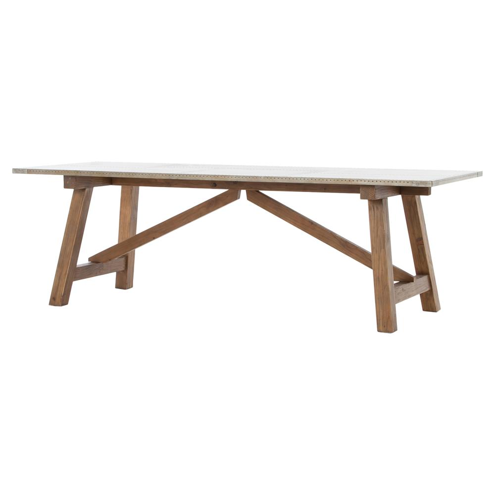 Stillwell Rustic Loft Fir Wood Metal Top Rectangular Trestle Dining Table    Kathy Kuo Home ...
