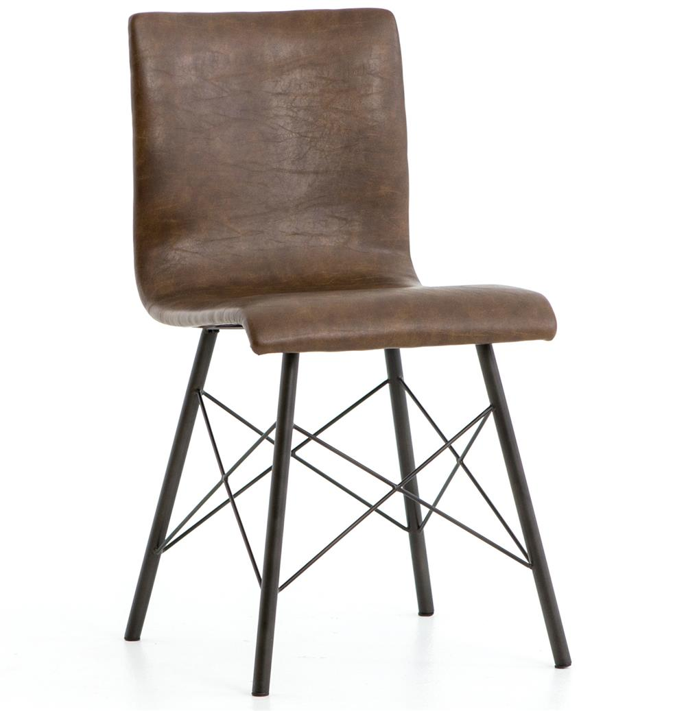 Sindric Industrial Loft Brown Faux Leather Black Iron Dining Side Chair |  Kathy Kuo Home ...