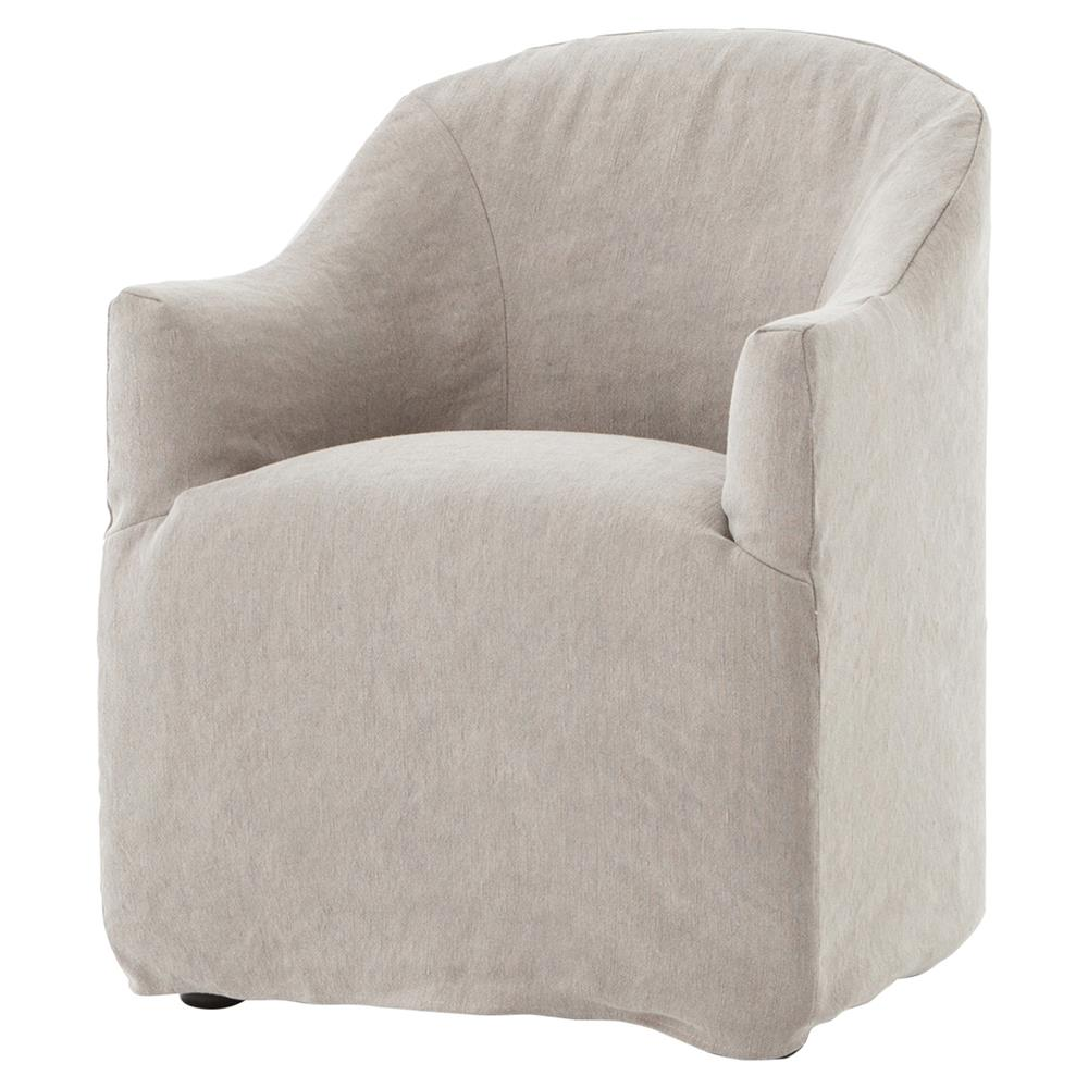 Desiree Modern French Country Beige Twill Slipcover Dining