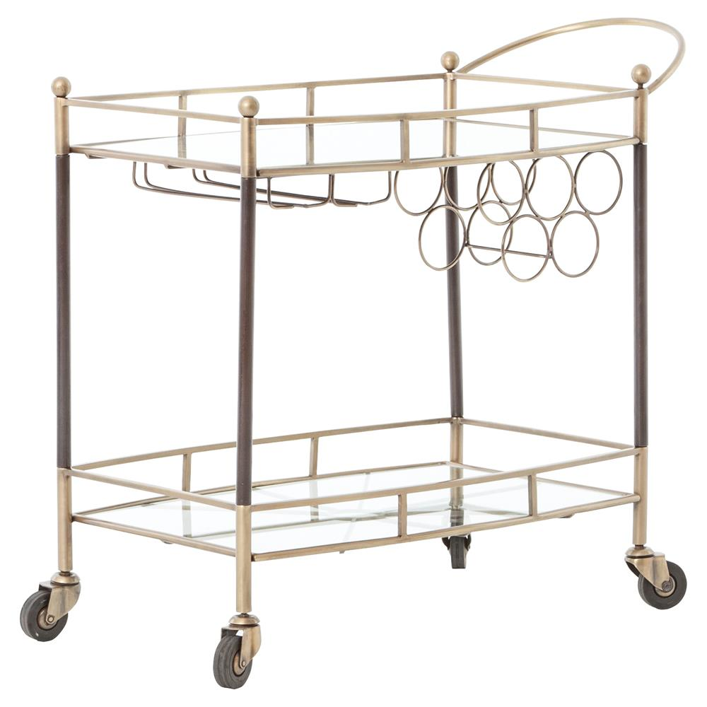 Crawley Modern Regency Brass Copper Mirrored Storage Bar Cart | Kathy Kuo  Home ...