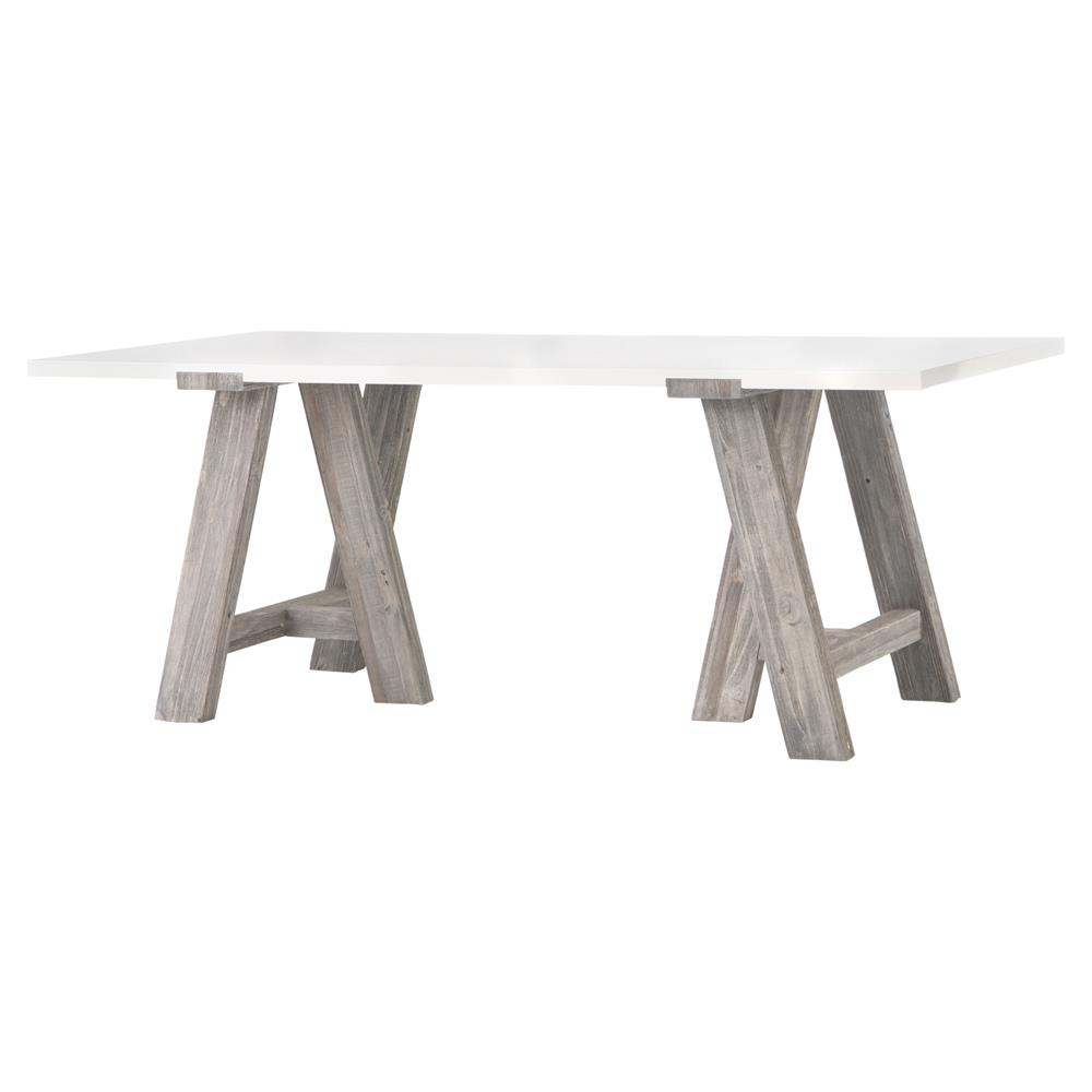 Billings Modern Rustic White Grey Wood Rectangular Dining Table Kathy Kuo Home
