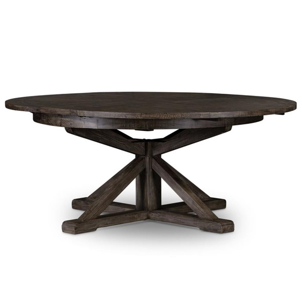 Chabert french reclaimed wood extendable round dining table small kathy kuo home