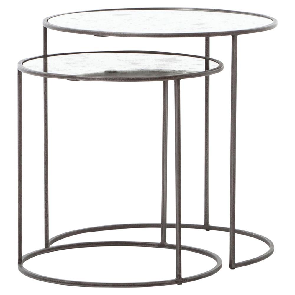 Danner Loft Nesting Antique Mirror Glass Round Side Tables Set Of 2 Kathy