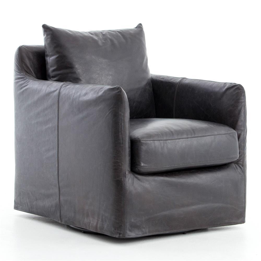 Devlin industrial black leather cushion back slipcover