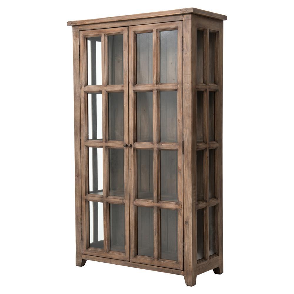 Filbert Rustic Lodge Reclaimed Wood 4 Shelf Glass Door Display Case
