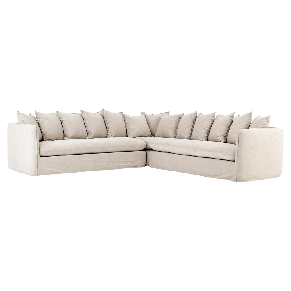 Modern Country Pillows : Romy Modern French Country Beige Slipcover Pillow Back Sectional Sofa Kathy Kuo Home
