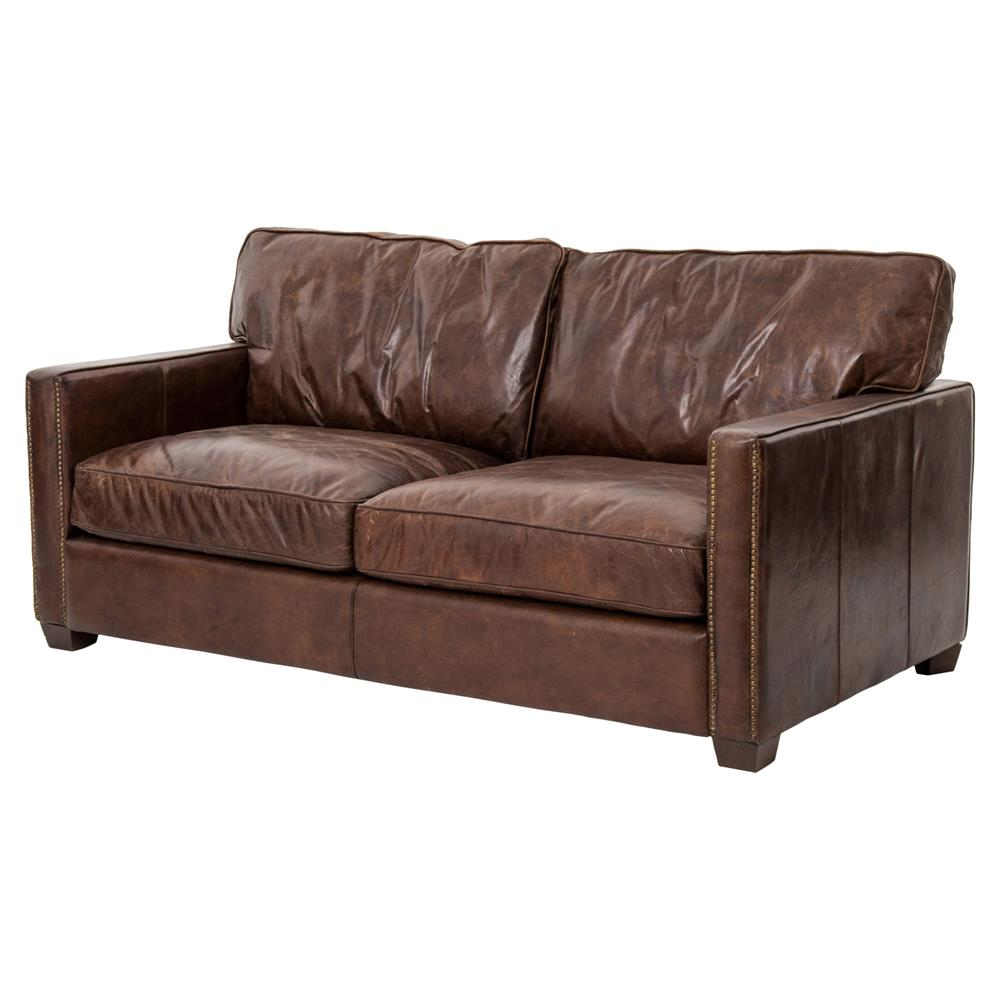 Setter Rustic Lodge Antique Brass Nailhead Trim Brown Leather Cushion Back  Sofa | Kathy Kuo Home ...