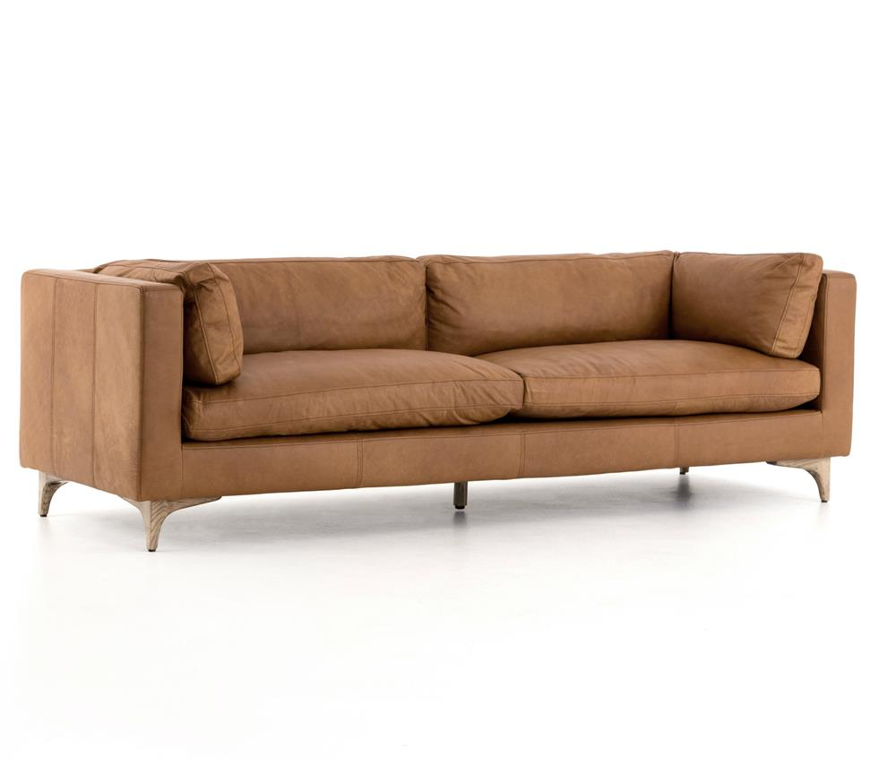 Davenport Mid Century Modern Tan Leather Cushion Back Sofa Kathy  ~ Tan Leather Mid Century Sofa