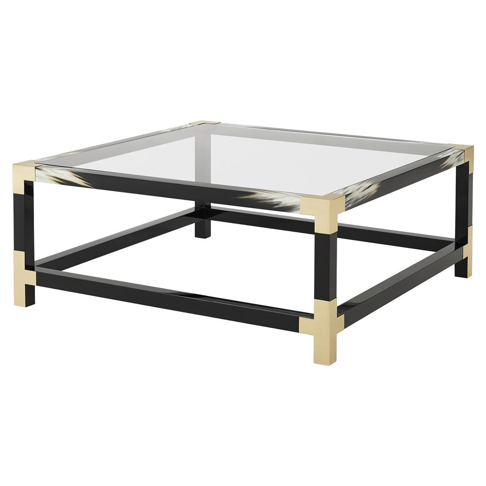 Theodore Alexander Cutting Edge Black Lacquered Faux Horn Square Coffee  Table | Kathy Kuo Home ...