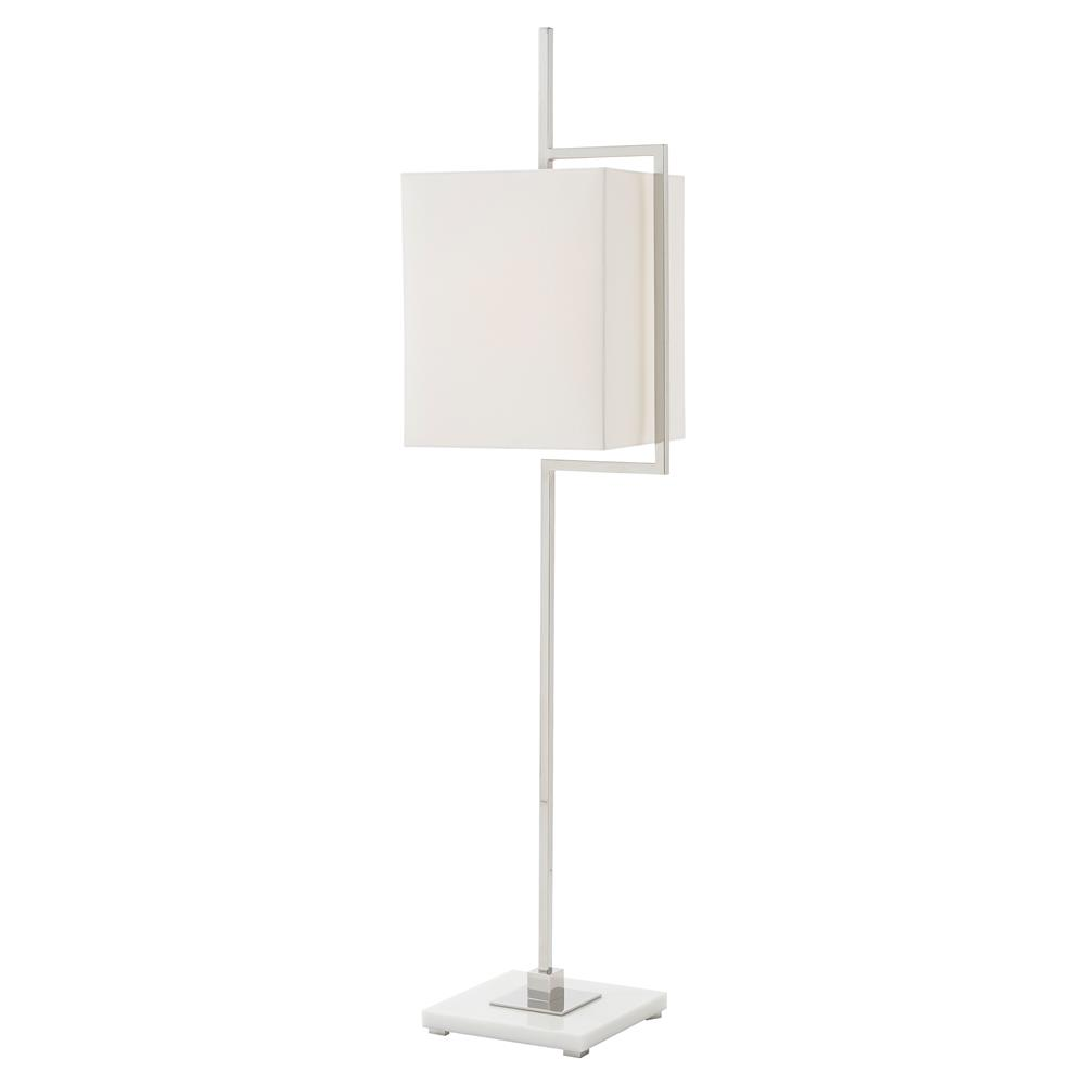 Theodore Alexander Diversion White Shade Polished Stainless Steel Floor Lamp  | Kathy Kuo Home