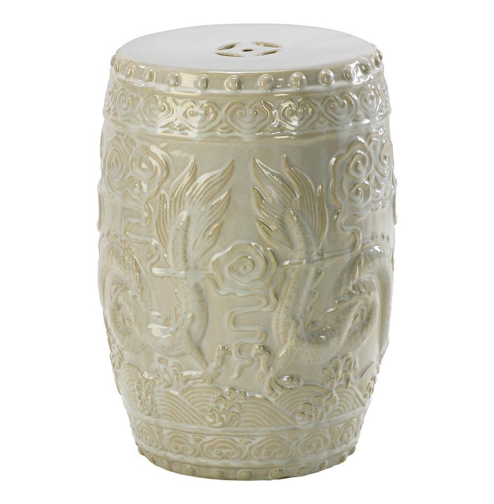 Shanghai Antique Ivory Pale Sage Frost Ceramic Garden Seat