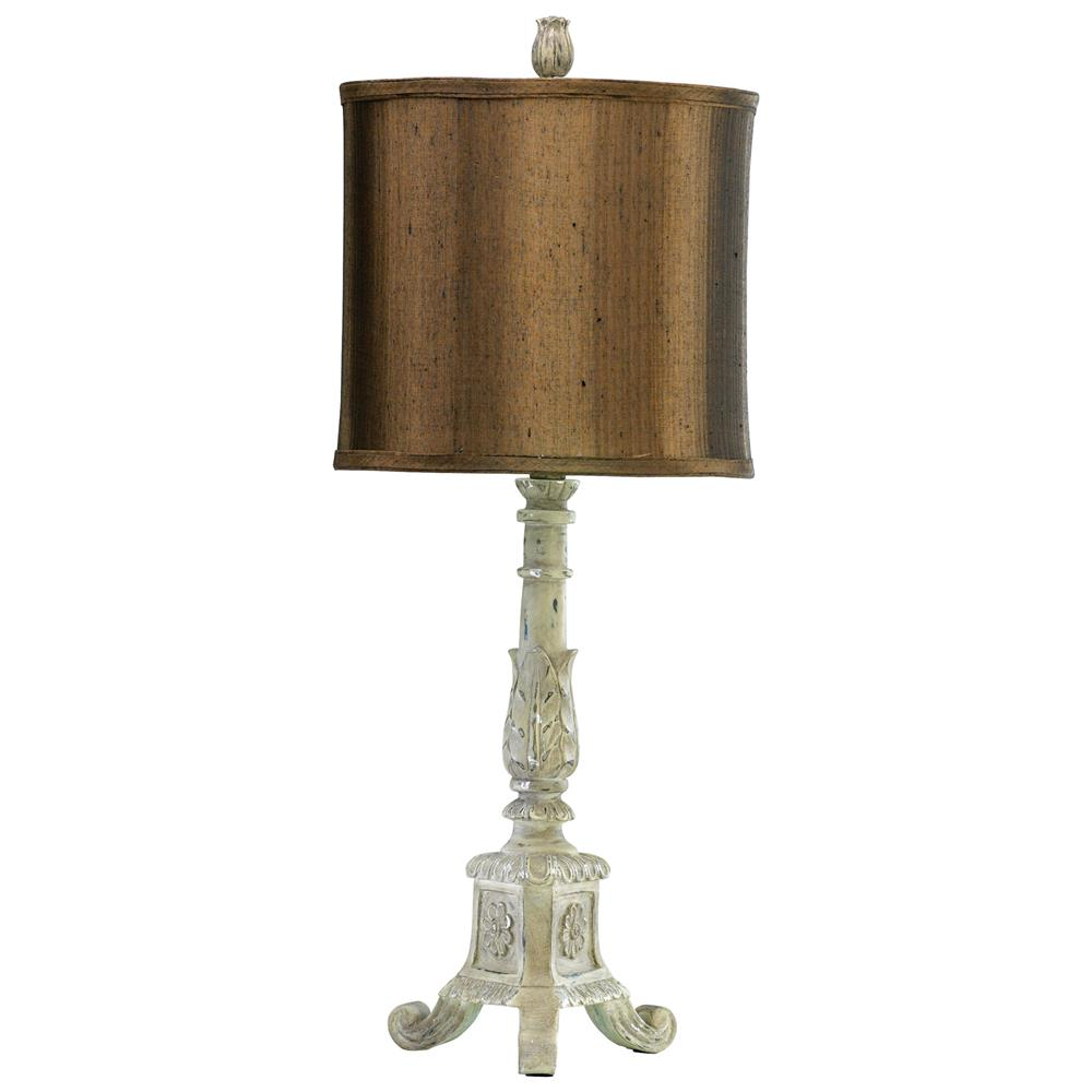 table lamps french country distressed white brown shade table lamp. Black Bedroom Furniture Sets. Home Design Ideas