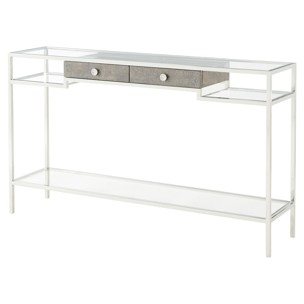 Tintagel Modern Classic Grey Blue Mottled Eggshell Tempered Glass Console  Table | Kathy Kuo Home