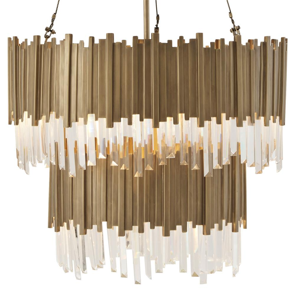 Theodore alexander tyrol vintage brass stacked rods two tier chandelier theodore alexander tyrol vintage brass stacked rods two tier chandelier kathy kuo home arubaitofo Image collections