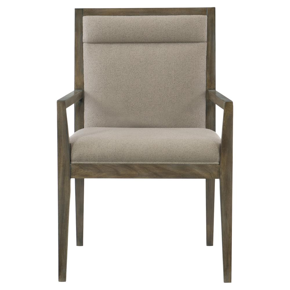 Portia hollywood regency wood frame taupe upholstered for Wood dining arm chairs