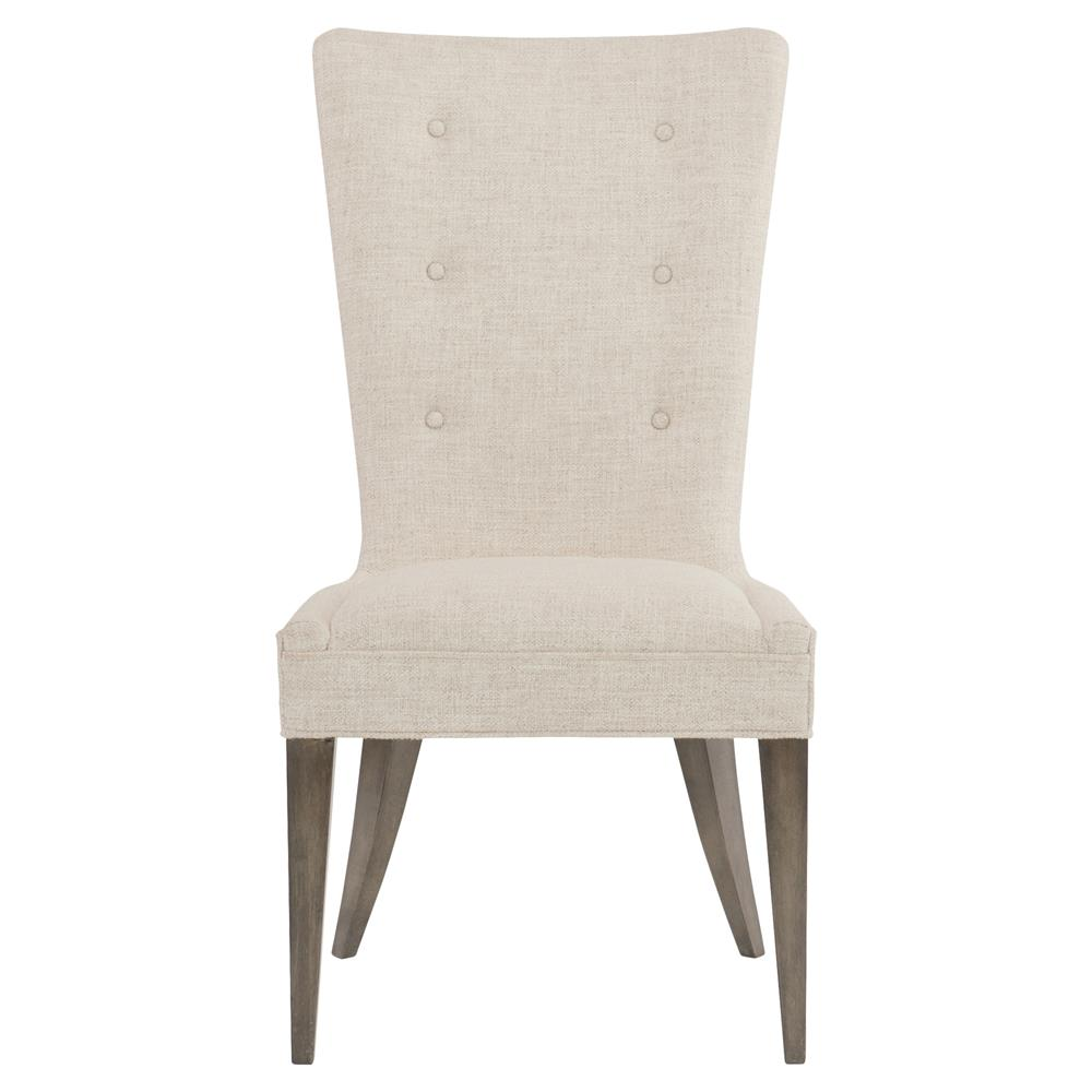 Portia hollywood regency warm wood white upholstered for White wood upholstered dining chairs