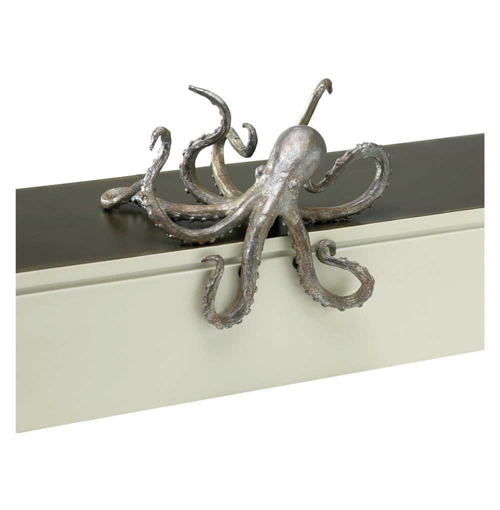 octopus coastal beach cast iron antique silver bronze shelf