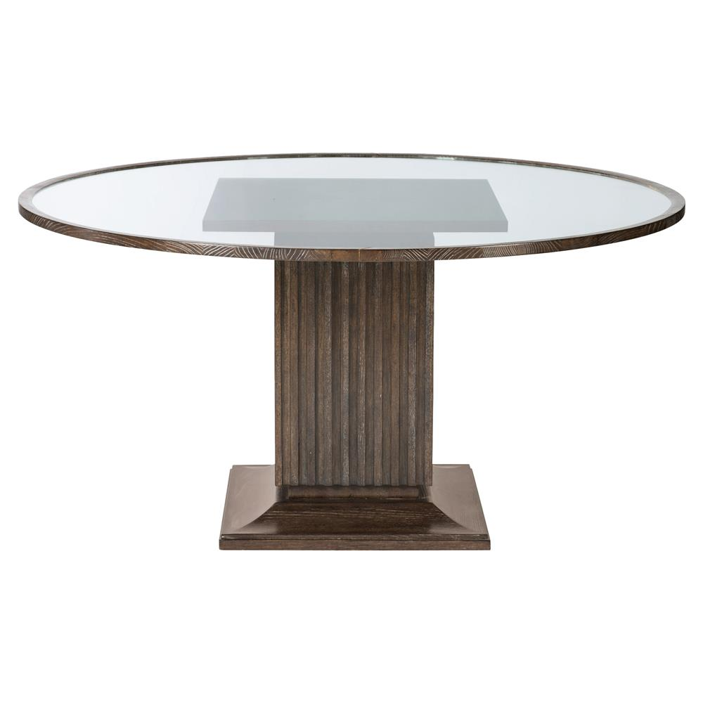 clarke modern classic oak veneer round glass pedestal dining table. Black Bedroom Furniture Sets. Home Design Ideas