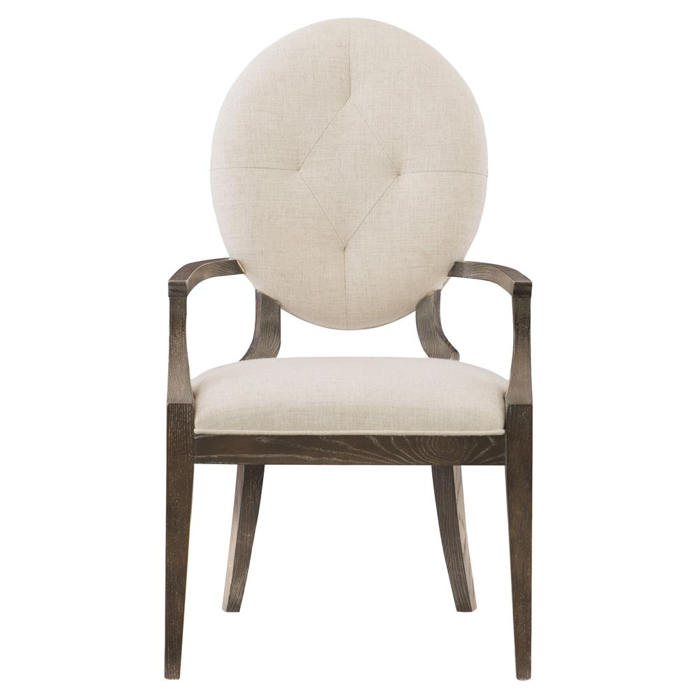 Clarke Modern Classic Oval Back Ivory Upholstered Dining