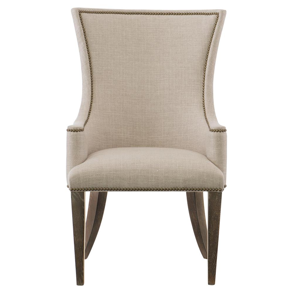 Clarke Modern Classic Beige Upholstered Nailhead Trim Dining Arm Chair |  Kathy Kuo Home ...