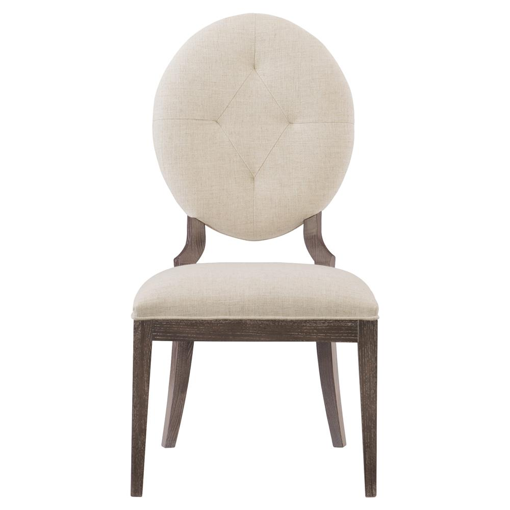 Clarke modern classic oval back ivory upholstered dining for Oval back dining room chairs