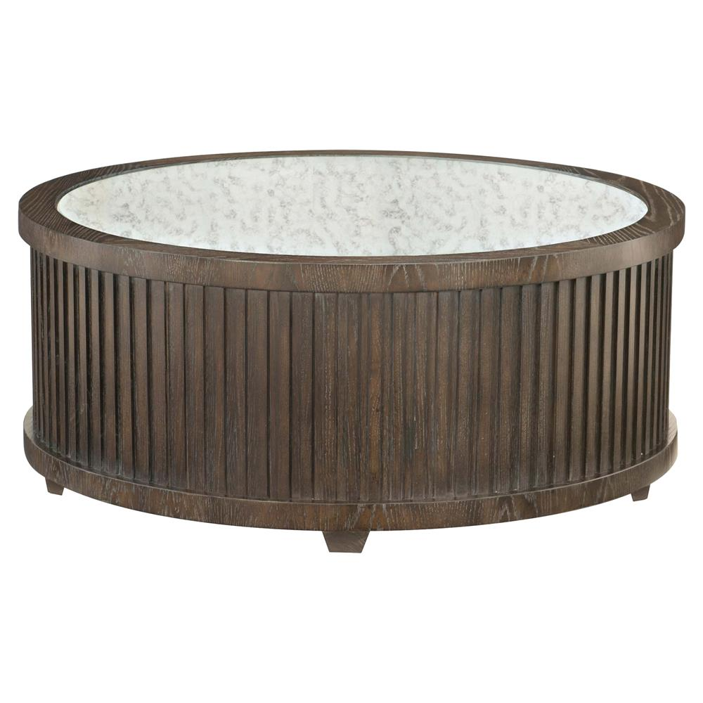 Clarke Modern Classic Dark Wood Mirrored Top Round Coffee Table | Kathy Kuo  Home