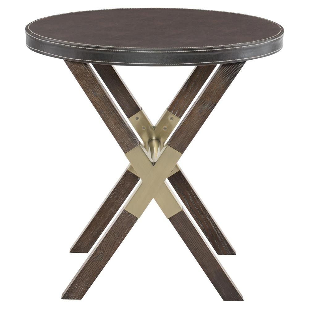 Clarke Modern Classic Burnished Brass Wooden Round Side End Table Kathy Kuo Home
