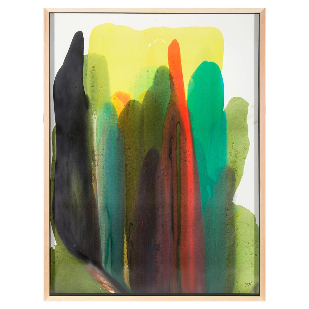 Veda Yellow Rise Abstract Modern Classic Framed Watercolor Print