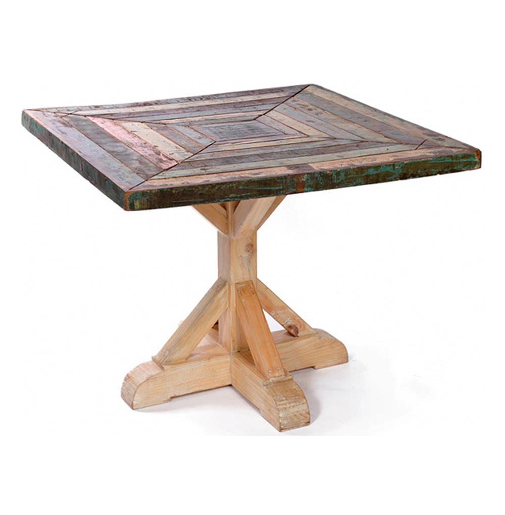 Reclaimed Painted Rustic Wood Square Dining Table 38 D Kathy Kuo Home