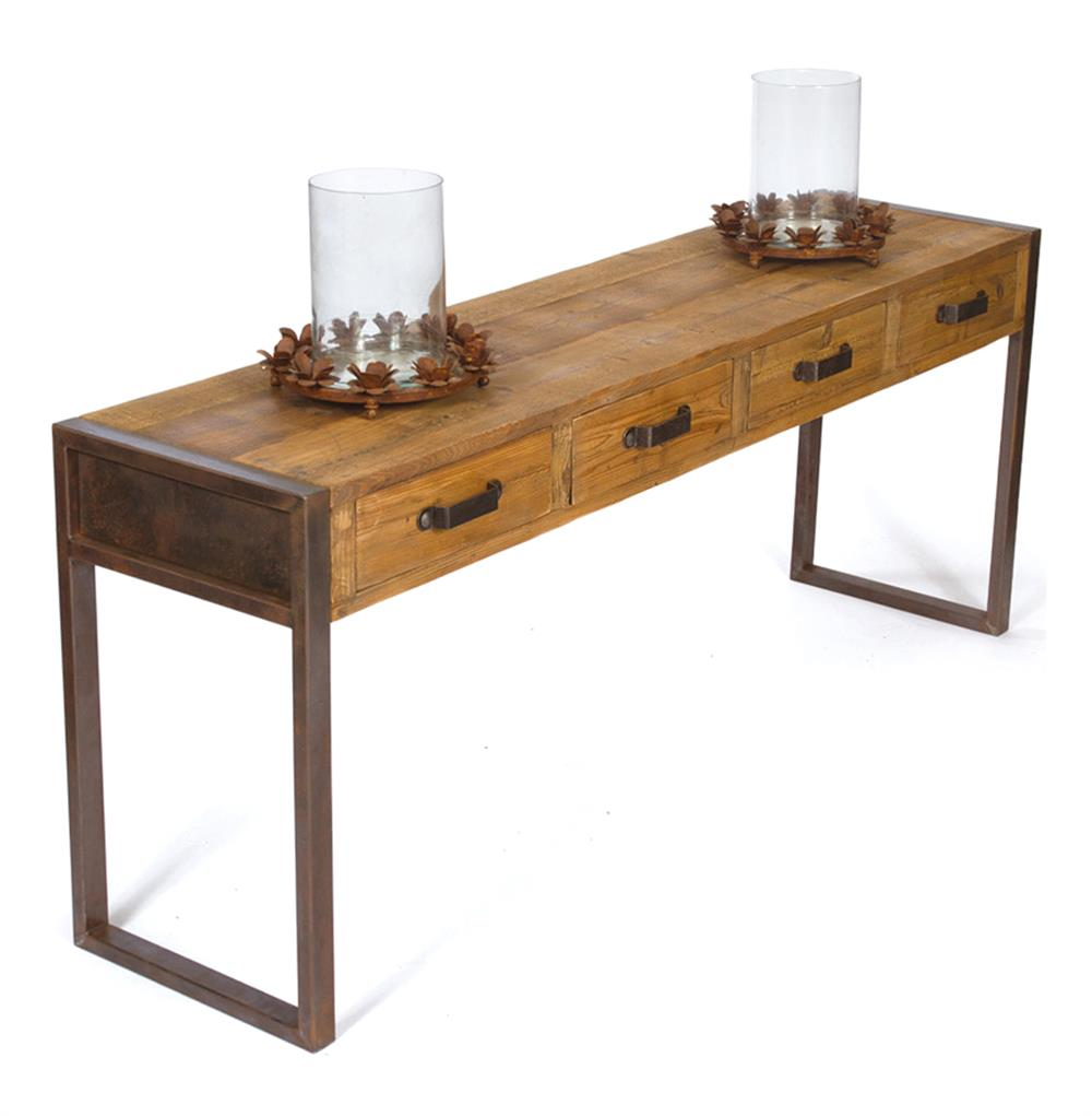 Hawthorne Rustic Reclaimed Wood Iron Console Table | Kathy Kuo Home