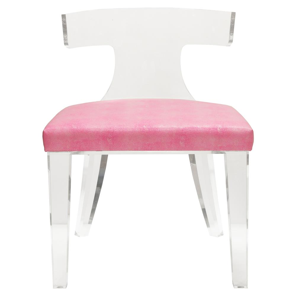 Maxine Modern Classic Pink Faux Reen Acrylic Klismos Side Chair Kathy Kuo Home