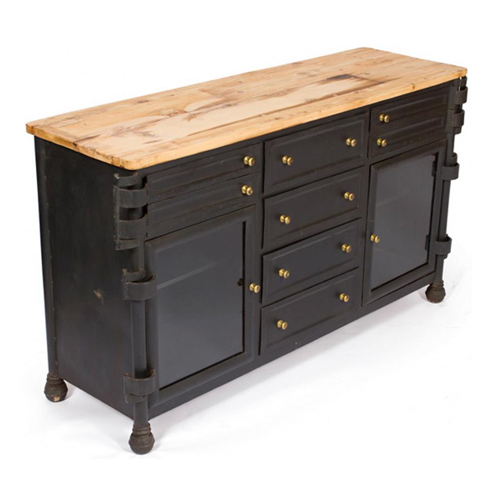 Antique Metal Dental Cabinet Black Vintage Steel Reclaimed Wood Dental Cabinet Sideboard