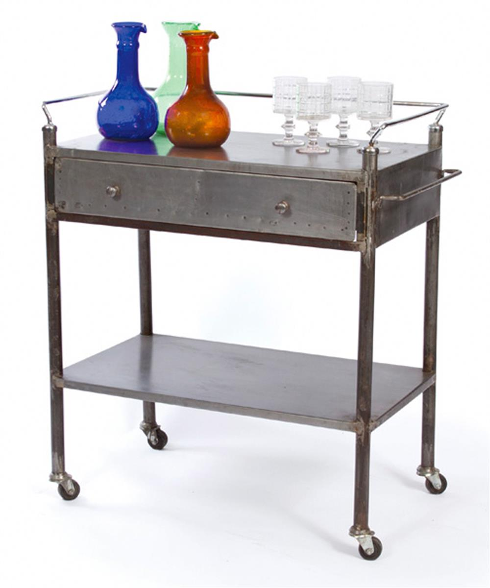 Modern Rustic Industrial Country Portable Kitchen Cart: Industrial Vintage Steel Trolley Bar Cart