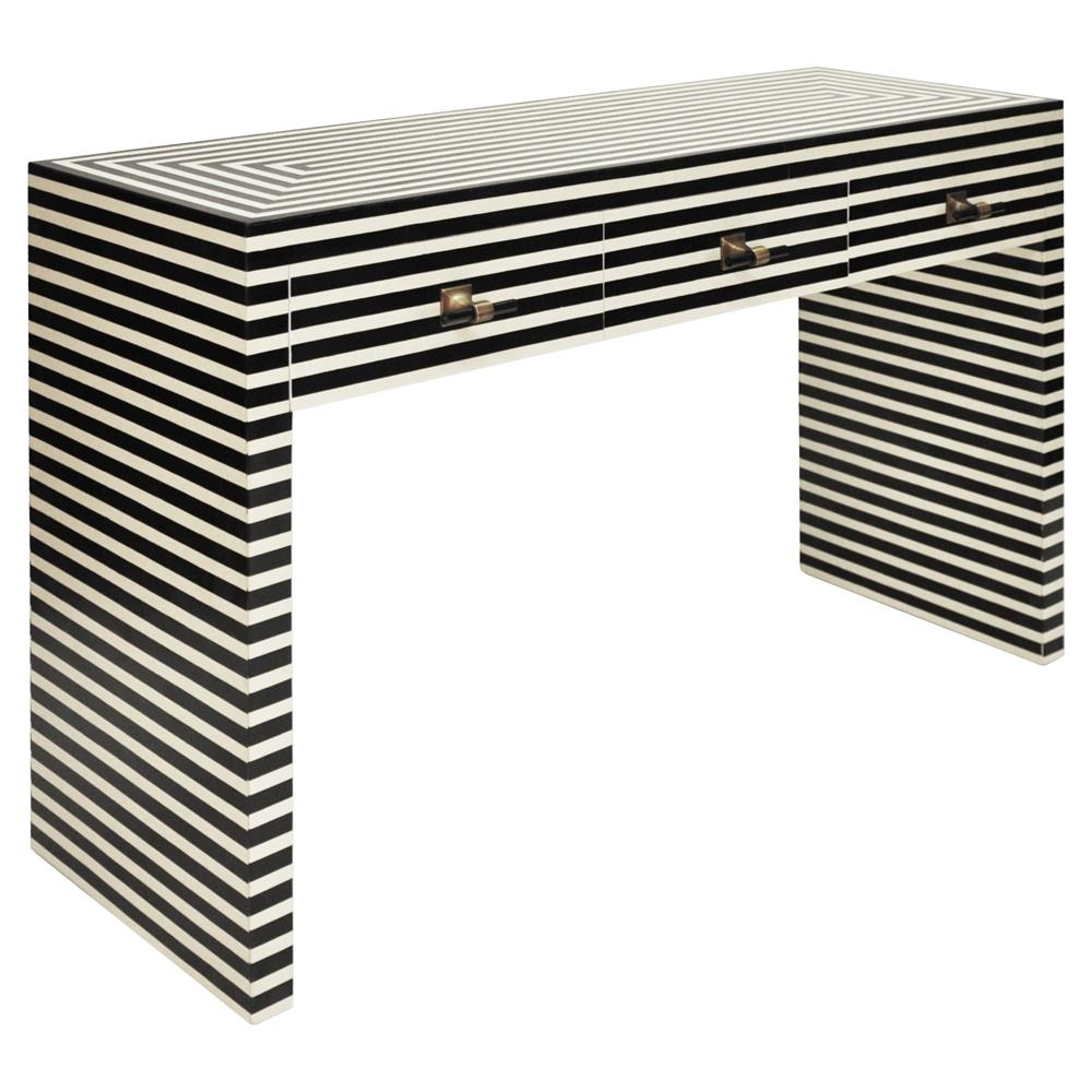 Newburgh Modern Classic Black And White Striped 3 Drawer Resin Console Table  | Kathy Kuo Home ...