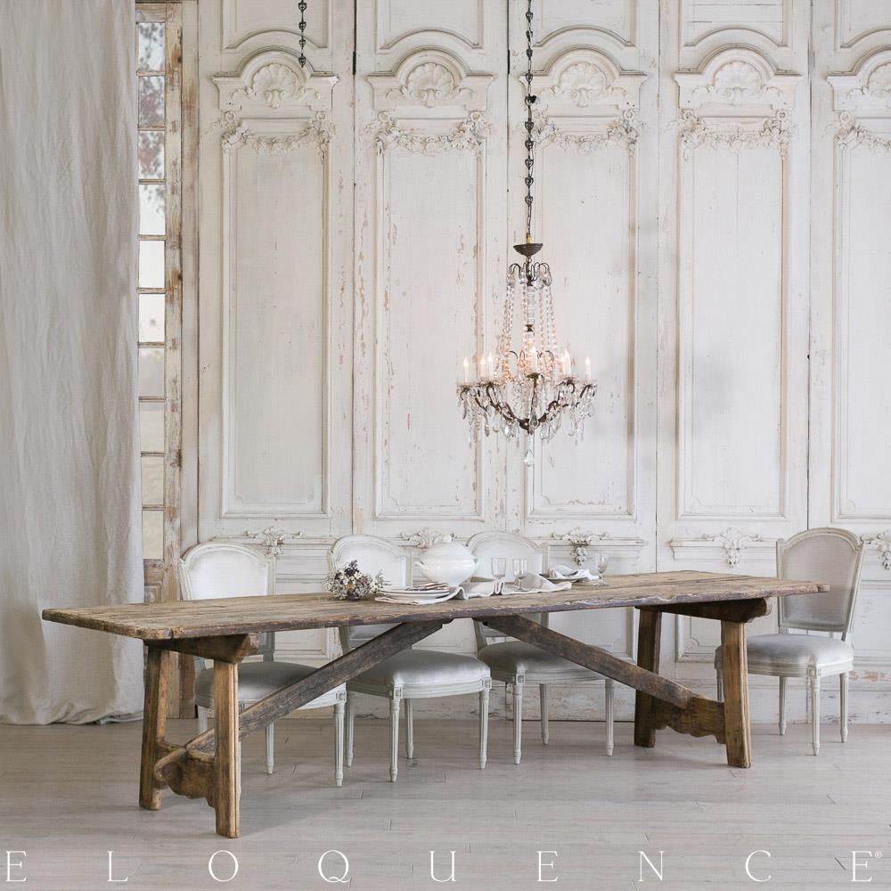 Eloquence French Country Style Antique Dining Table: 1800